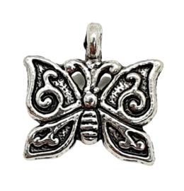 10x Prachtige tibetaans zilveren vlinder 15 x 15 x 2mm gat 1,5mm