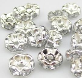 50 stuks verzilverde rondellen 6 x 3 mm kristal kleur gat: 1,5mm