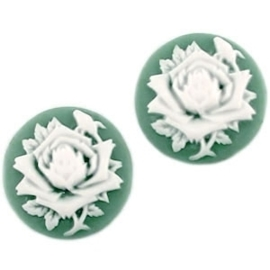 2 x Camee rond 20 mm Donker turquoise / wit 20mm