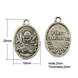 5 x Tibetaans zilveren 1e heilige communie muntje 25 x 16 x 2mm Gat: 2mm