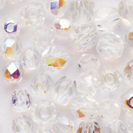 20 x ronde Tsjechië  kraal kristal facet 5mm Kleur: ab transparant  gat c.a.: 1mm