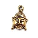 2 x  Tibetaans zilveren hanger buddha hoofd 18x12mm goud kleur