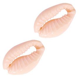 4 x Schelp kralen kauri Sweet coral peach 17 x 12