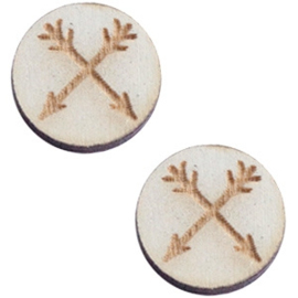 2 x Houten cabochon basic 12 mm arrows Grey