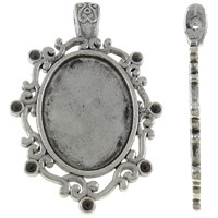 Houder Z4: Prachtige Tibetaans zilver Cabochon houder. Binnenzijde: 22 x 29mm
