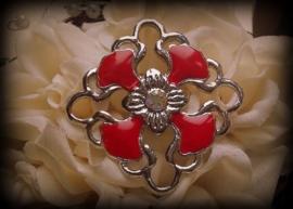 Per stuk Metalen hanger tussenzetsel epoxy bloemmotief rood 36 mm