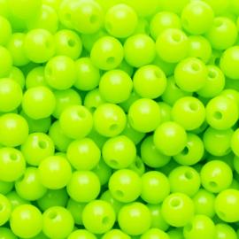 20 x Acryl neon kraal licht groen; Ø 6 mm, Gat 1,6 mm