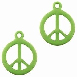 10 Stuks Kunststof hanger Peace Groen 18 x 14 mm