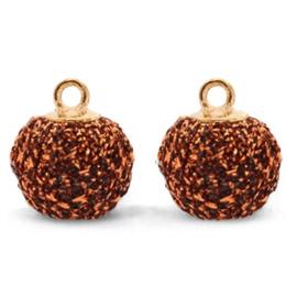 Nieuw! Pompom bedels met oog glitter 12mm Copper-gold