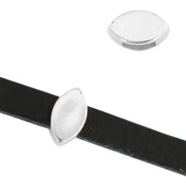 1 x Schuivers DQ metaal ovaal Antiek zilver ca.10x5mm (Ø5mm)