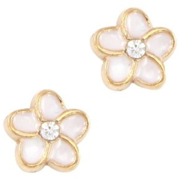 2 x Floating Charms Bloem Goud 7 mm