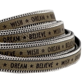 20 cm Quote imi leer 10mm met schakelketting zilver Wish dream believe Olive green