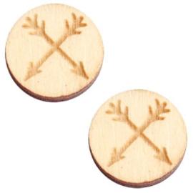 2 x Houten cabochon basic 12 mm arrows White wood ( natuurlijke kleur van het hout)