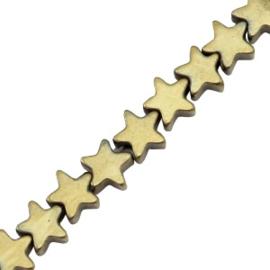 5 x Hematite kralen ster 4mm Antique gold