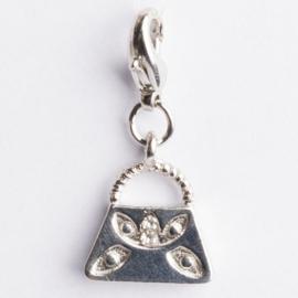 Be Charmed tasje bedel met karabijnsluiting zilver met een rhodium laag (nikkelvrij)
