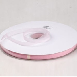 5 meter Organza lint 10mm breed per meter,  Zacht roze