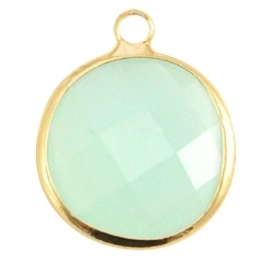 Crystal glas hanger rond 16mm Crysolite green opal-Gold