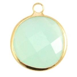 Crystal glas hanger rond 16mm Crysolite green opal-Gold