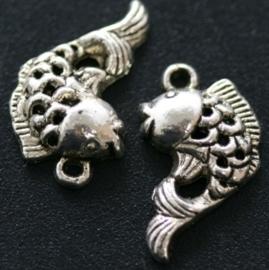 10x Tibetaans zilveren bedel van een vis 20 x 13mm
