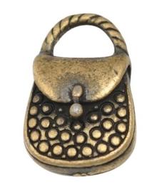 5 x tibetaans zilveren bedeltje van een tasje 17 x 10 x 4mm gat: 2mm geel koper kleur