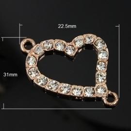 Prachtige tussenzetsel hart Rose Gold met strass 22,5 x 31 x 2,5mm Gat: 2mm