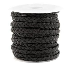 50cm plat gevlochten 5 mm DQ leer Vintage black