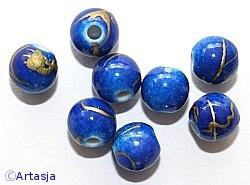c.a. 75 stuks 6mm Ronde drawbench acryl kralen met goud bewerkt blauw