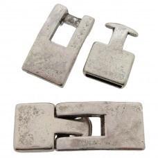 DQ Metaal sluiting (voor leer plat 10mm) Antiek zilver (nikkelvrij)