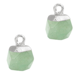 1 x Natuursteen hangers hexagon Light green-silver Aventurijn