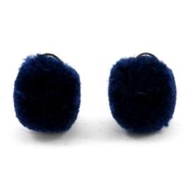 2 x Pompom bedel met oog zilver 15mm Dark blue