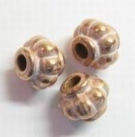 10 stuks Koper-roze/zilver metallook kraal rond ribbel 12 mm