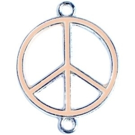 Bedel zilver 2 ogen peace Licht coral orange ca. 29 x 22 mm