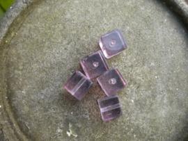 10 x mooie kubus glaskraal lila 8mm