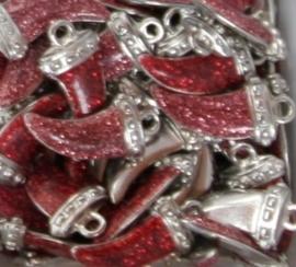 5x Tibetaans zilveren bedel van een tand met epoxy-emaille 12x25mm