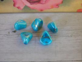 1x pyramide Glaskraal Blauw goud gemeleerd  14 x 9.6mm oogje: 1.1mm