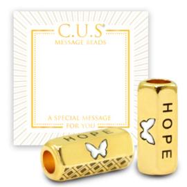 "1 x C.U.S® sieraden message beads ""hope"" & butterfly Goud (nikkelvrij)"