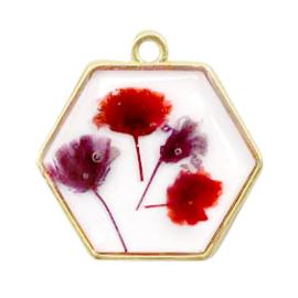 1 x  Bedels met gedroogde bloemetjes hexagon Gold-red