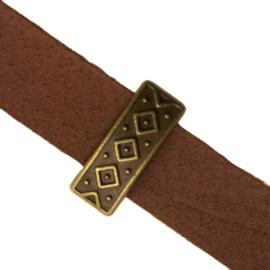 3 x Metalen schuifkraal voor leer Ruit Antiek Brons 10×2 mm
