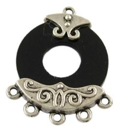 2 stuks resin oorbellen ornamenten met Tibetaans zilver 29x22,5x5mm gat 1mm