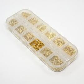 1 doosje met gouden jumpringetes van 4 t/m 10mm > 1000 stuks