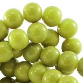 15 stuks Keramische Glaskralen 8mm Licht olijf groen