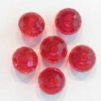 10 x Glaskraal facet kristal rond geslepen rood 8 mm