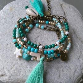 Armbandenset turquoise / groen ♥