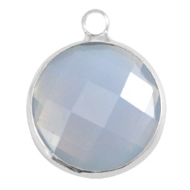 Crystal glas hanger rond 16mm Light grey opal-Silver