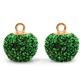2 x Pompom bedels met oog glitter 12mm Green-gold