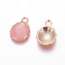 2 x Metalen bedels shell light gold pink ca. 19 x13 x 4mm oogje 1,4mm