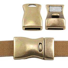 DQ metaal magneetslot 23 x 13mm (Ø 10x2.5mm) Antiek brons (nikkelvrij)