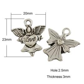 4 x Engel Love bedel Tibetaans Zilver 23 x 20 x 3mm gat 2,5mm