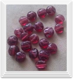 10 Stuks Glaskraal India disc paars/rood - wit 11 x 6 mm
