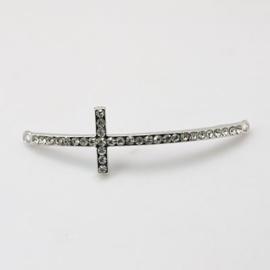 Schitterende Kruis tussenzetsel met strass 53x15x3mm zilver